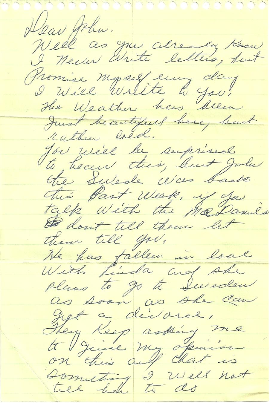 A Letter from Mary Hyre November 4 1969  JOHN KEEL